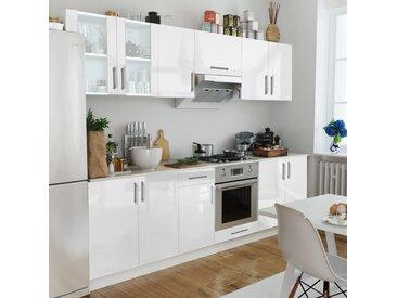 vidaXL Küchenzeile 8-tlg. Hochglanz Weiß 260 cm