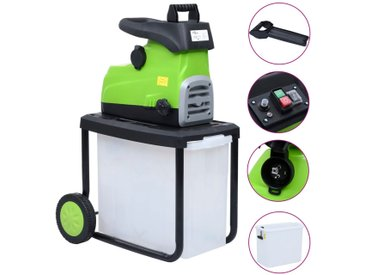 vidaXL Elektrischer Gartenhäcksler mit Auffangbox 2800 W