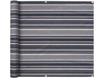 vidaXL Balkonsichtschutz Oxford-Gewebe 90×600 cm Gestreift Grau
