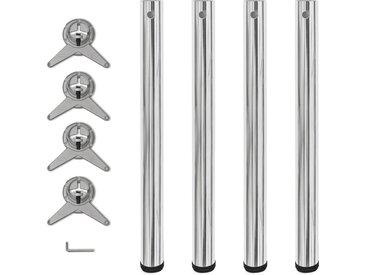 vidaXL 4x höhenverstellbares Tischbein Tischbeine Chrom 710 mm