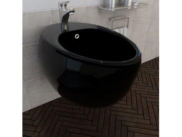 vidaXL Wand Hänge-Bidet Wandhängend Wandbidet Keramik schwarz