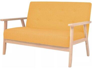 vidaXL 2-Sitzer Sofa Stoff Gelb
