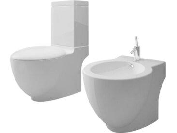 vidaXL Keramik Toilette & Bidet Set weiß