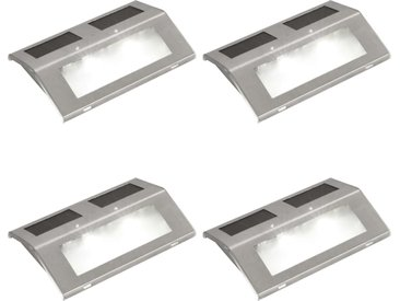 vidaXL 4 Stück Solar Treppen Lampe 2 LED Wandleuchte Solarlampe