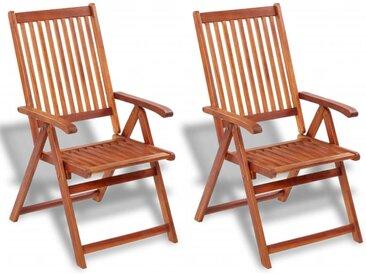 vidaXL Gartenstühle 2 Stk. Klappbar Akazie Massivholz Braun