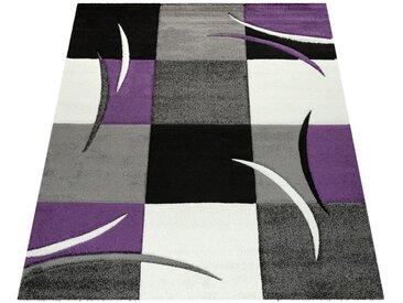 Paco Home Designer Teppich Mit Konturenschnitt Trend Teppich Modern Kariert Lila Schwarz Grau