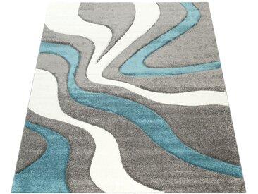 Paco Home Designer Teppich mit Konturenschnitt Modern Grau Türkis Weiss