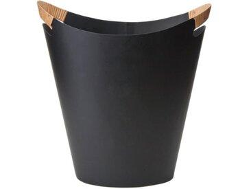 Orskov Papierkorb Grethe schwarz aus Metall mit Holzgriffen