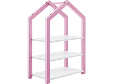 en.casa Kinderregal Mayen Spielzeugregal Standregal 3 Ablagen Haus-Optik 85x60x30 cm Rosa
