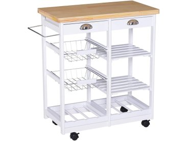 Homcom Küchenrollwagen mit Korb/Schublade/Weinablage
