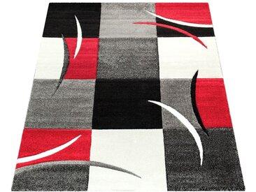 Paco Home Designer Teppich mit Konturenschnitt Karo Muster Rot Schwarz