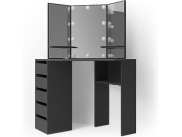 Vicco Schminktisch Arielle Frisiertisch Kommode Frisierkommode Spiegel Schwarz inklusive LED-Lichterkette