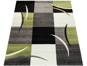 Paco Home Designer Teppich mit Konturenschnitt Karo Muster Grün Schwarz