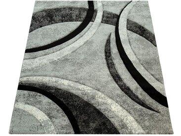 Paco Home Designer Teppich mit Konturenschnitt Muster Gestreift Grau Schwarz Creme Meliert