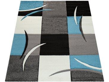Paco Home Designer Teppich mit Konturenschnitt Karo Muster Türkis Grau