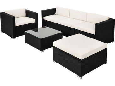 Tectake Rattan Lounge mit Stahlgestell Milano schwarz