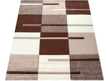 Paco Home Designer Teppich mit Konturenschnitt Karo Muster Beige Braun