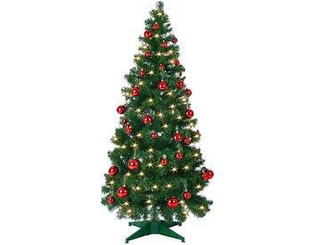 Casaria Pop-Up Weihnachtsbaum 180cm inkl. Lichterkette und 52 rote Weihnachtskugeln