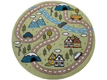 Paco Home Kinderteppich Kinderzimmer Teppich Rund Kurzflor Straßen Design In Pastell Grün