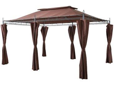 Grasekamp Garten-Pavillon Inca 3x4m Mocca mit Seitenteil Sets geschlossen Party-Zelt Terrassen-Dach