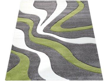 Paco Home Designer Teppich mit Konturen-schnitt Modernes Wellen Muster in Grau Grün Creme