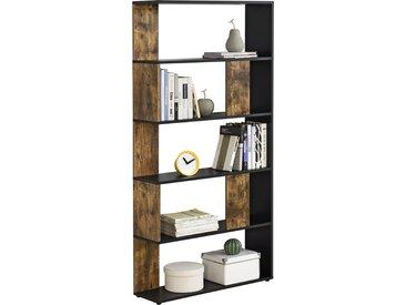 en.casa Bücherregal Aneby Standregal 159x80x24cm mit 5 Ablageflächen Schwarz/Holzfarben