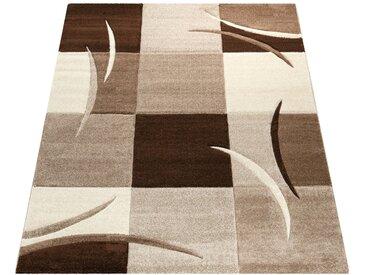 Paco Home Designer Teppich mit Konturenschnitt Karo Muster Braun Beige