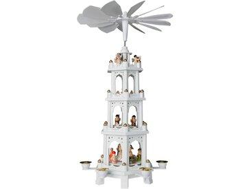 Brubaker Weihnachtspyramide aus Holz Weiß 4 Etagen 60 cm Höhe handbemalte Figuren