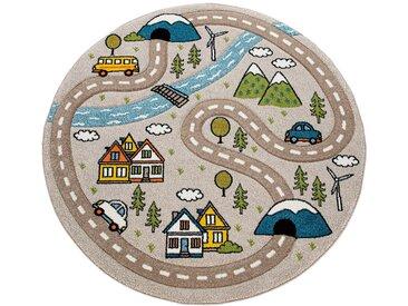 Paco Home Kinderteppich Kinderzimmer Teppich Rund Kurzflor Straßen Design In Pastell Beige