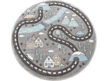Paco Home Kinderteppich Kinderzimmer Teppich Rund Kurzflor Straßen Design In Pastell Grau
