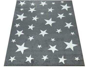 Paco Home Kinderteppich Kinderzimmer Grau Anthrazit Sternen Muster Kurzflor Robust