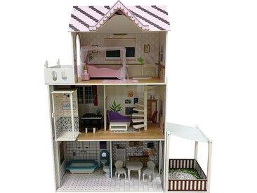 myToys Puppenhaus mit Garten und 13 Möbeln