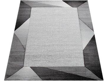 Paco Home Wohnzimmer-Teppich Mit Bordüre und 3-D-Effekt, Kurzflor-Teppich, In Grau Beige