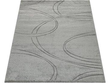 Paco Home Teppich Einfarbig Designerteppich mit Handgearbeitetem Konturenschnitt Uni Grau