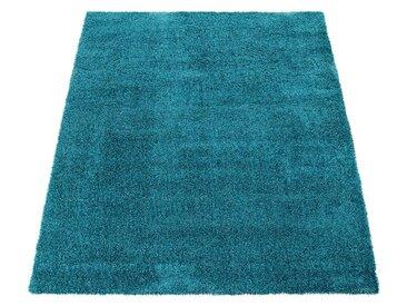 Paco Home Hochflor-Teppich, Shaggy-Teppich, Moderner Wohnzimmer-Teppich In Türkis
