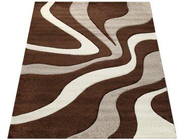 Paco Home Designer Teppich mit Konturenschnitt Wellen Muster Braun Beige Creme
