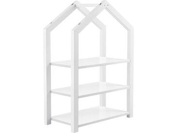 en.casa Kinderregal Mayen Spielzeugregal Standregal 3 Ablagen Haus-Optik 85x60x30 cm Weiß