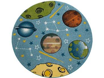 Paco Home Kinderteppich Kinderzimmer Teppich Rund Kurzflor Weltraum Planeten In Blau