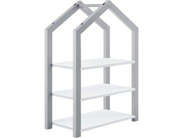 en.casa Kinderregal Mayen Spielzeugregal Standregal 3 Ablagen Haus-Optik 85x60x30 cm Grau