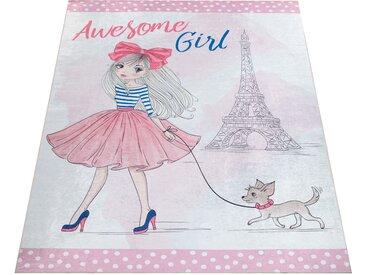 Paco Home Kinderteppich, Spielteppich Für Kinderzimmer, Mädchen-Motiv Und Print, In Rosa