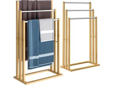 Casaria Handtuchhalter 2er Set aus Bambus und Edelstahl