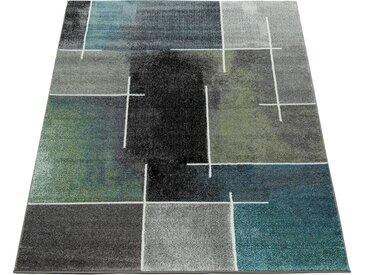 Paco Home Designer Teppich Kariert Modern Trendig Meliert Eyecatcher in Grau Türkis Grün