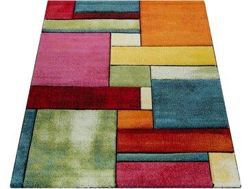 Paco Home Designer Teppich Kariert Trendig Bunt Meliert Eyecatcher Grün Blau Orange Pink