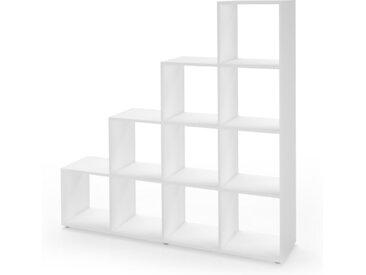 Vicco Treppenregal Raumteiler Stufenregal Bücherregal 6 Fächer 105 cm Weiß