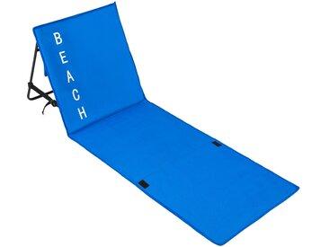 Tectake Strandmatte mit verstellbarer Lehne blau