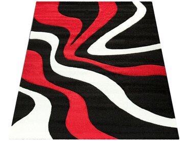 Paco Home Designer Teppich mit Konturenschnitt Wellen Muster Rot Schwarz Weiss