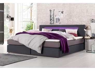 COLLECTION AB Boxspringbett, inkl. LED-Beleuchtung mit Farbwechsel und Topper, grau