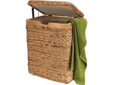 Home affaire Wäschebox, mit natur Holzrahmen, beige, 45 cm x 57 cm x 34 cm