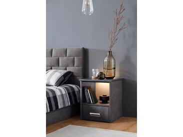 Westfalia Schlafkomfort Nachtschrank »Brilon«, mit indirekter LED-Beleuchtung, grau, Microvelours