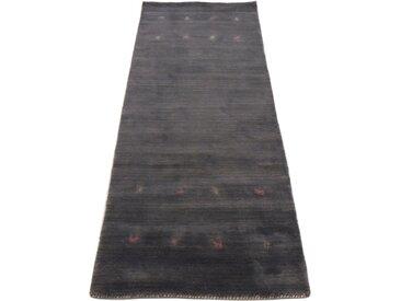 Läufer »Gabbeh Uni«, carpetfine, rechteckig, Höhe 15 mm, reine Wolle, handgewebt, Gabbeh Tiermotiv, Wohnzimmer, grau, 80 cm x 350 cm x 15 mm